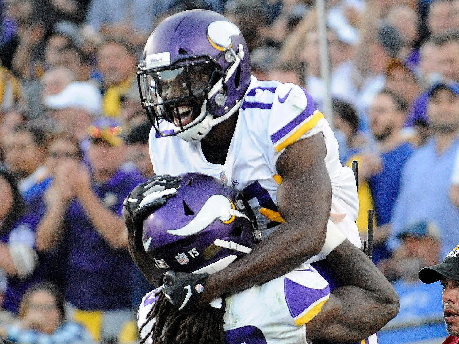 Minnesota Vikings wide receiver Aldrick Robinson (17) celebrates his touchdown with Dalvin Cook.