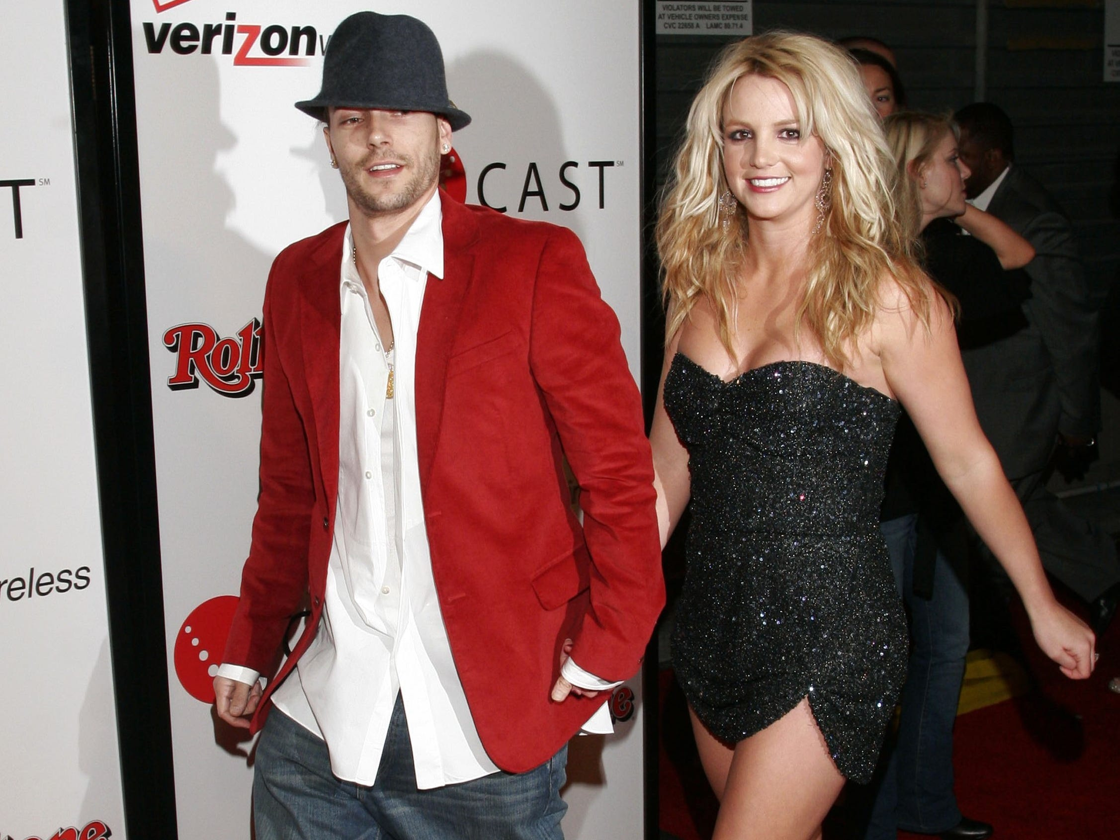 HOLLYWOOD - FEBRUARY 06:  (FILE PHOTO) Musicians Britney Spears and Kevin Federline arrive at the 2006 Grammy Nominees party with Kanye West, hosted By Verizon Wireless and Rolling Stone Magazine at the Avalon Hollywood, on February 6, 2005 in Hollywood, California.  Britney Spears reportedly gave birth to a baby boy, her second child with Federline, in the early hours of September 12, 2006. (Photo by Matthew Simmons/Getty Images for Rolling Stone) *** Local Caption *** Britney Spears;Kevin Federline GTY ID: 26364MS006_Rolling_Stone
