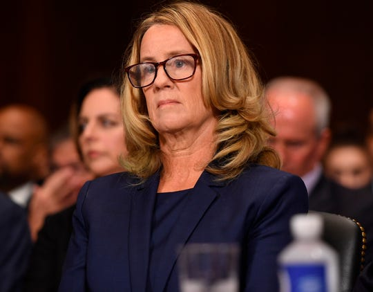 Dr. Christine Blasey Ford is pictured testifying to the Senate Judiciary Committee.