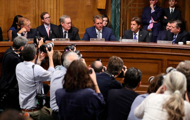 Sen. Jeff Flake, R-Ariz., speaks during the Senate Judiciary Committee meeting on Friday, Sept. 28, 2018, on Capitol Hill in Washington. A reader offers the Kavanaugh nomination process as evidence term limits are needed to clean up Congress.