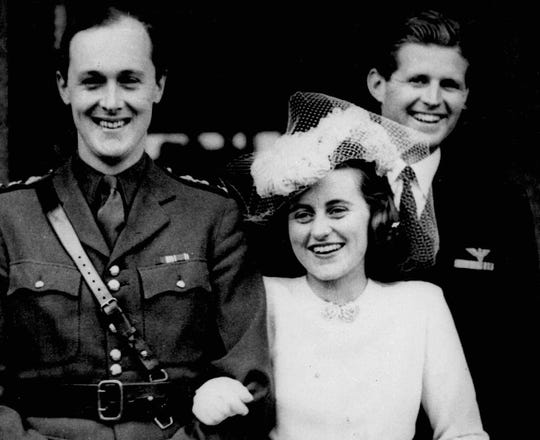 Kathleen Kennedy and William John Robert Cavendish, the Marquess of Hartington, on their wedding day, May 6, 1944. Kennedy's brother, Joseph P. Kennedy Jr., is at right.