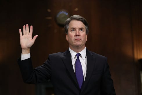 Judge Brett Kavanaugh is sworn in before testifying to the Senate Judiciary Committee during his Supreme Court confirmation hearing in the Dirksen Senate Office Building on Capitol Hill September 27, 2018 in Washington, D.C.