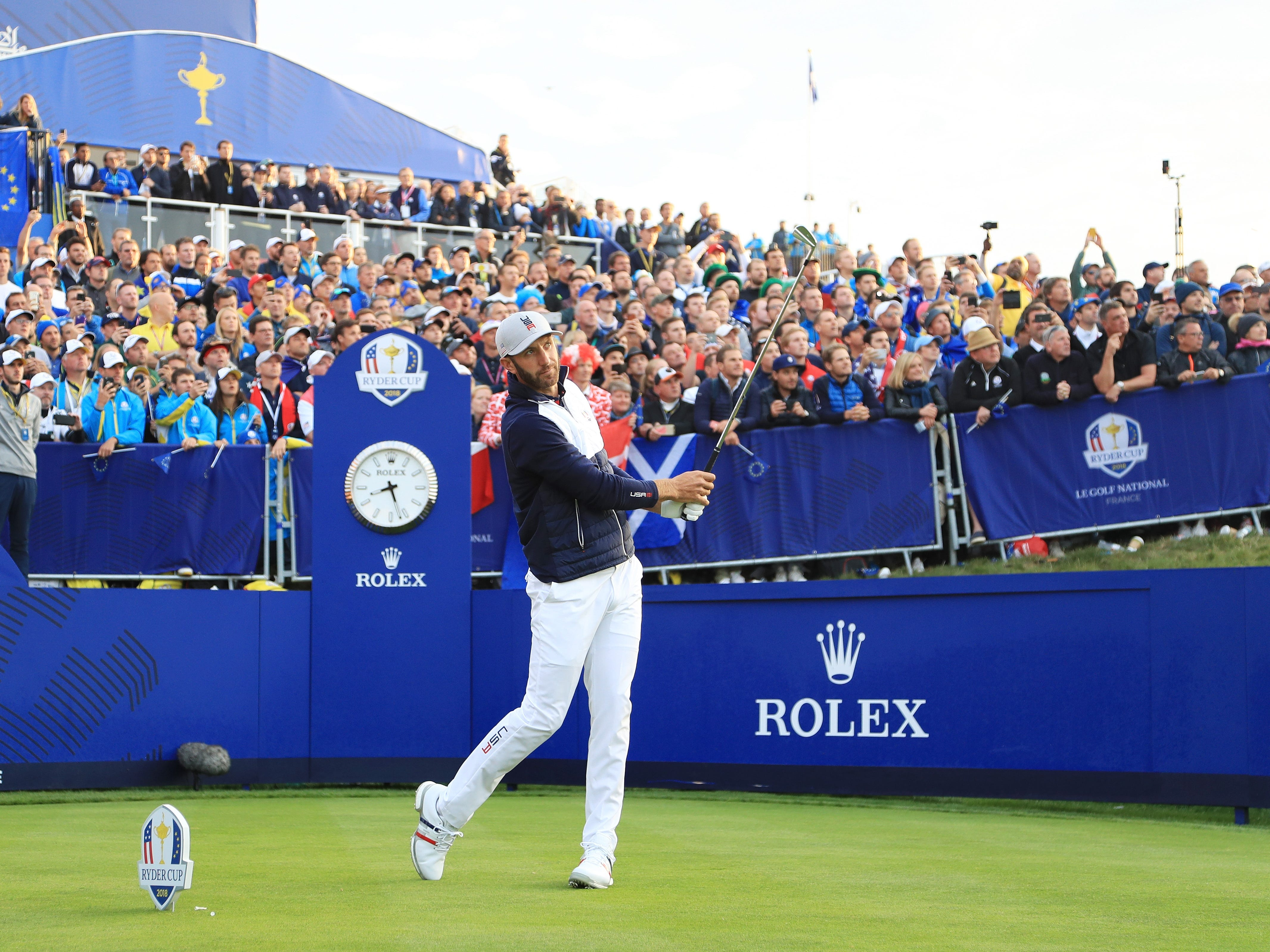 Dustin Johnson of the United States plays his shot from the first tee  during the morning fourball matches of the 2018 Ryder Cup at Le Golf National.