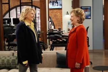"""Hillary Clinton was a surprise guest star as one of Murphy's aspiring secretaries on the CBS revival of """"Murphy Brown."""""""