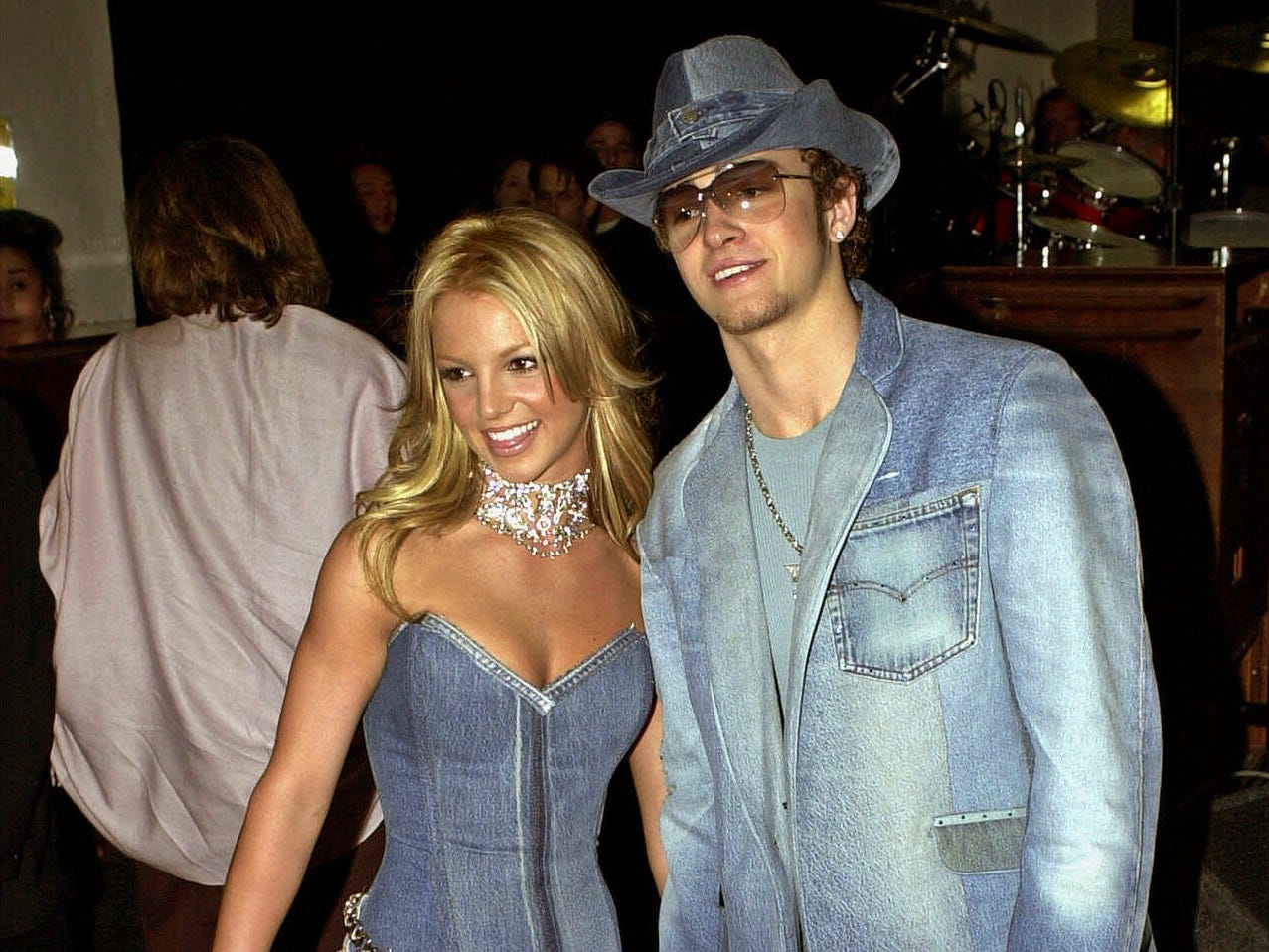 Show host Britney Spears, left, and Justin Timberlake of N'Sync arrive at the 28th Annual American Music Awards in Los Angeles Monday, Jan. 8, 2001. (AP Photo/Mark J. Terrill) ORG XMIT: XAMA104