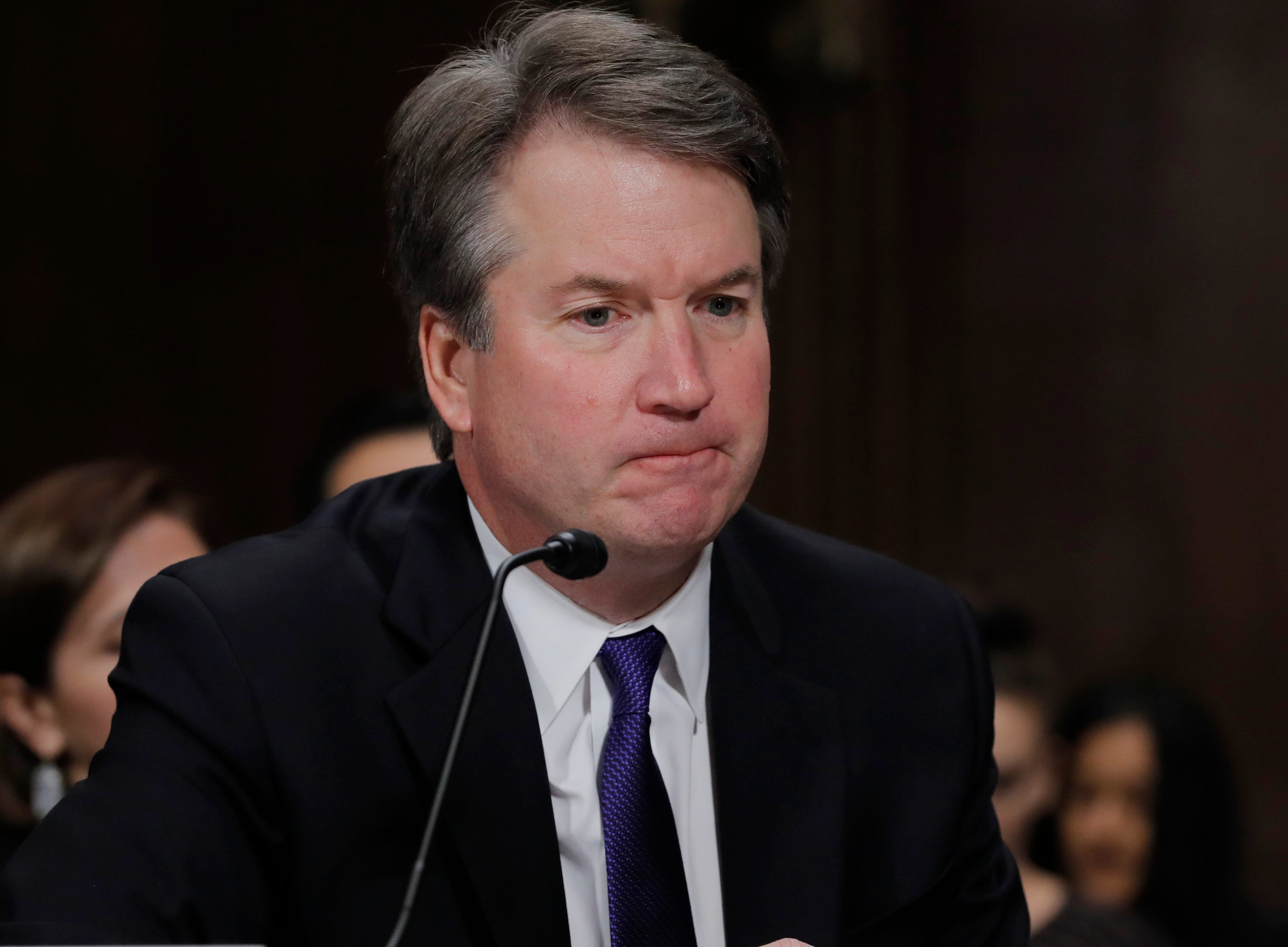 Supreme Court nominee Brett Kavanaugh is pictured testifying before the Senate Judiciary Committee on Capitol Hill.