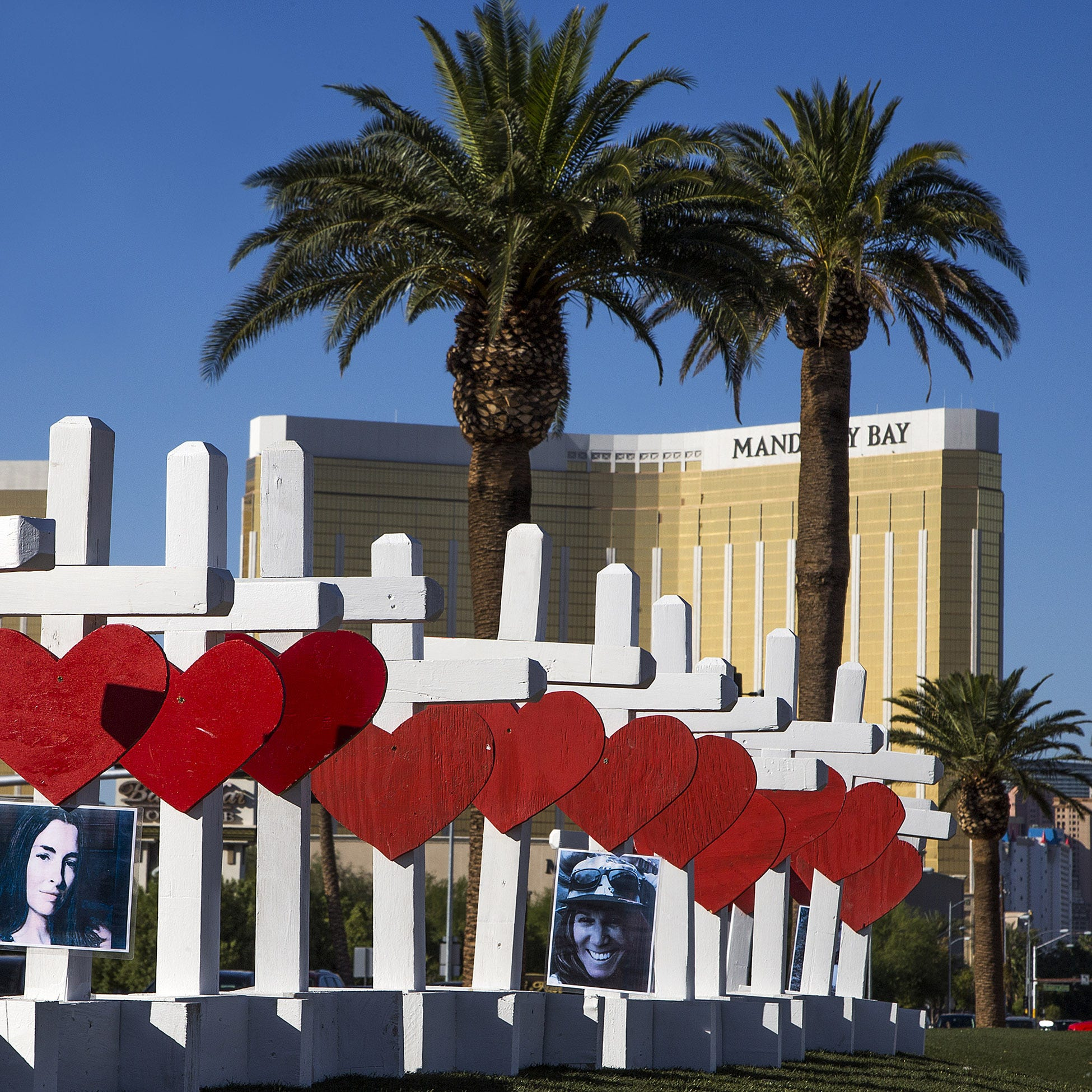 A memorial to the victims of the shooting is seen near the Mandalay Bay Hotel on Oct. 5, 2017.