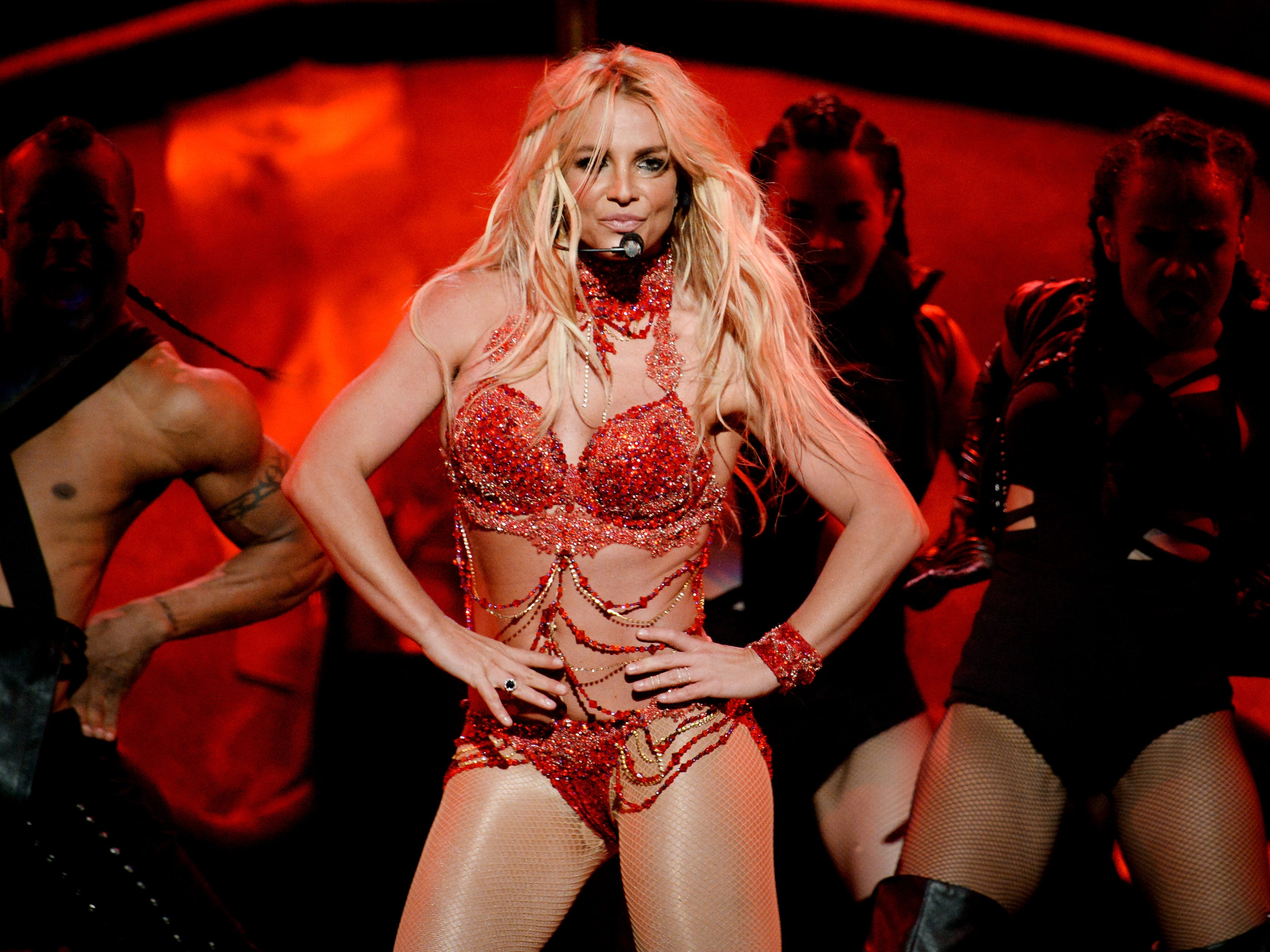 LAS VEGAS, NV - MAY 22:  Recording artist Britney Spears performs onstage during the 2016 Billboard Music Awards at T-Mobile Arena on May 22, 2016 in Las Vegas, Nevada.  (Photo by Kevin Winter/Getty Images) ORG XMIT: 631009835 ORIG FILE ID: 533589178