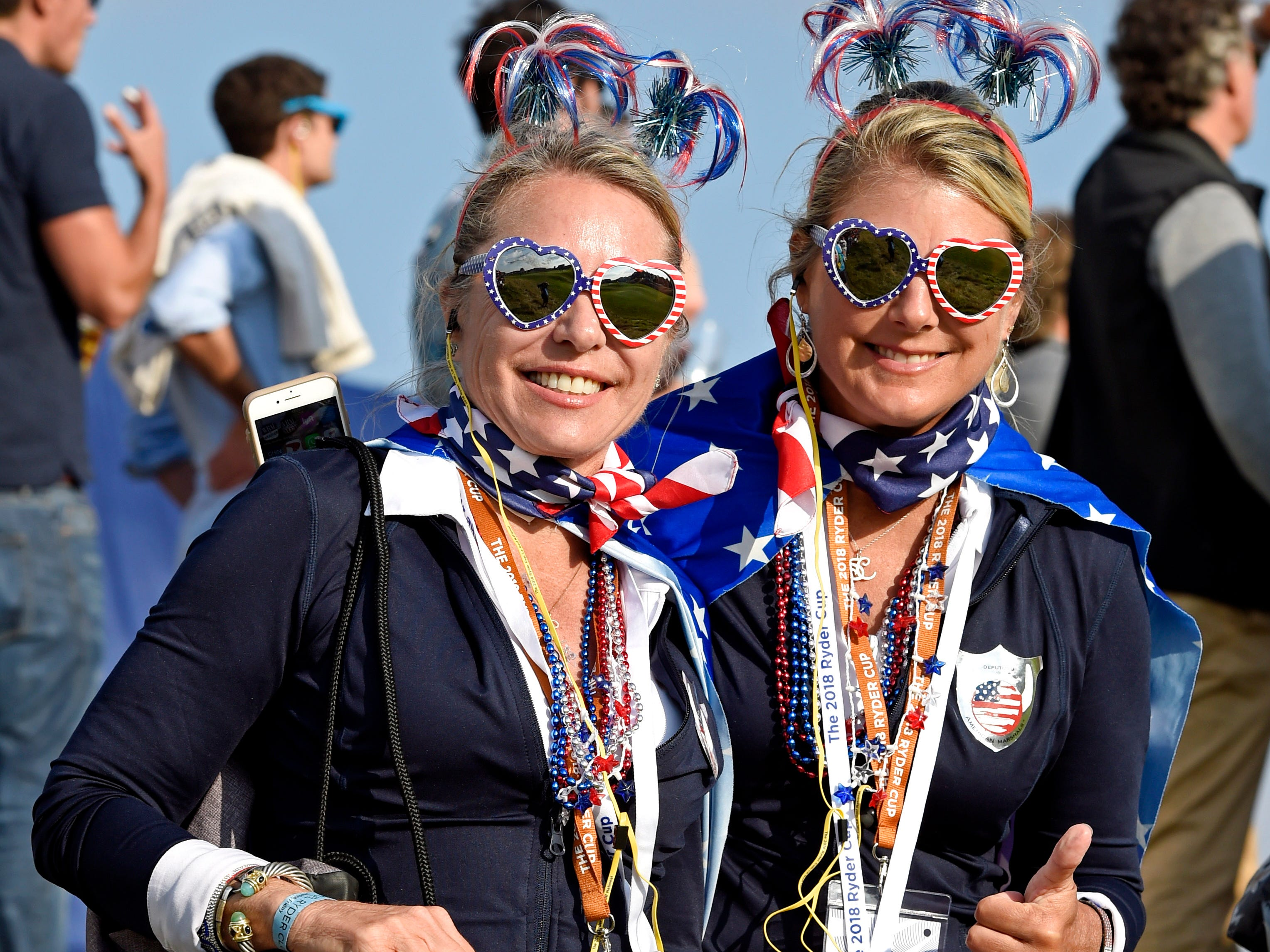 USA fans on the 14th hole during the Ryder Cup Friday afternoon matches.