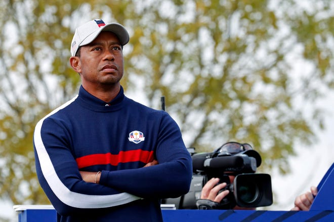 Tiger Woods on the seventh tee during the Ryder Cup Friday morning matches at Le Golf National.