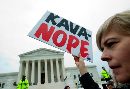Demonstrators protest against the appointment of Supreme Court nominee Brett Kavanaugh on the streets outside on Capitol Hill in Washington DC, on September 27, 2018.