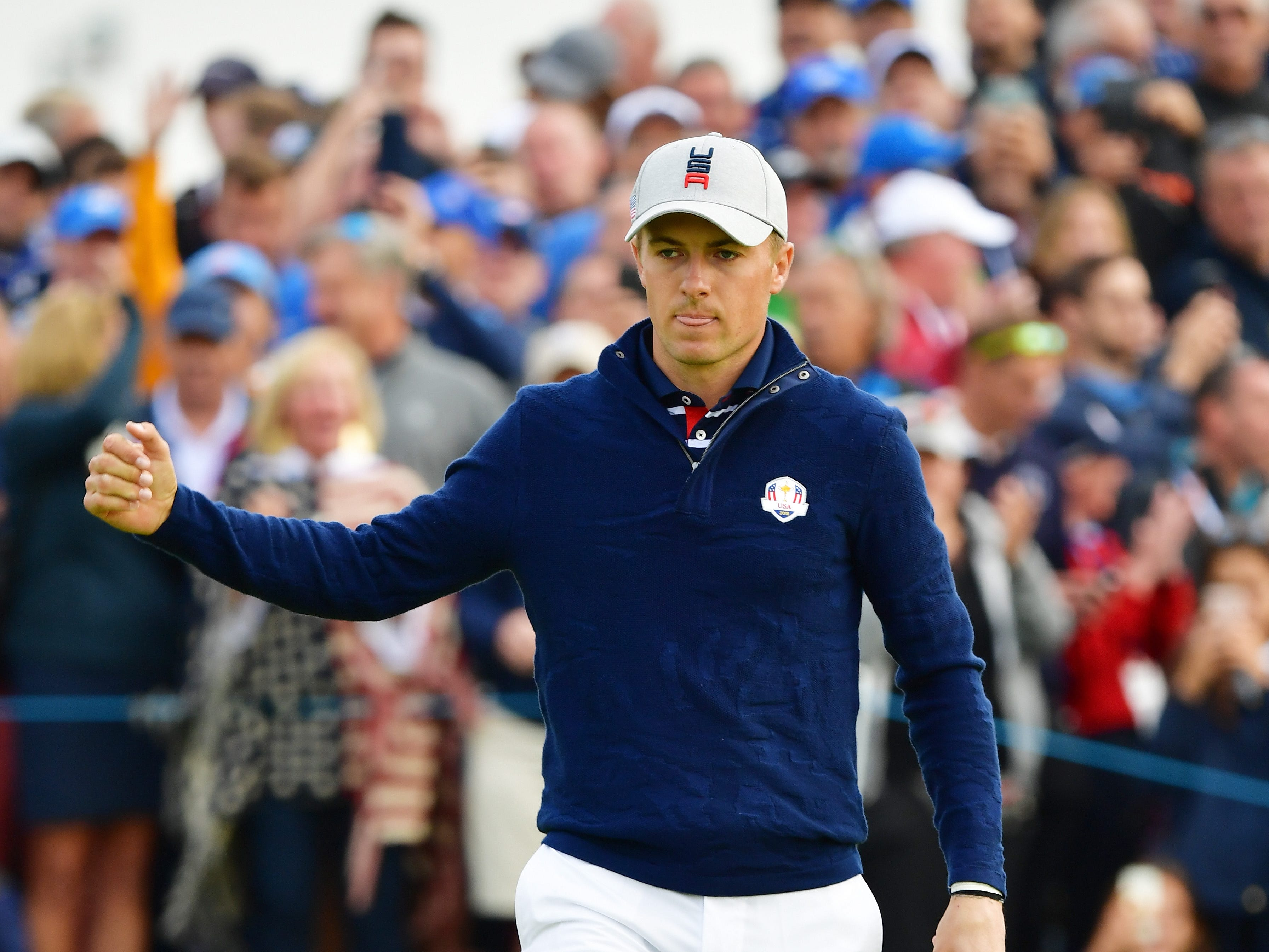 Jordan Spieth celebrates during the morning fourball matches of the 2018 Ryder Cup at Le Golf National. He birdied five of the first seven holes.