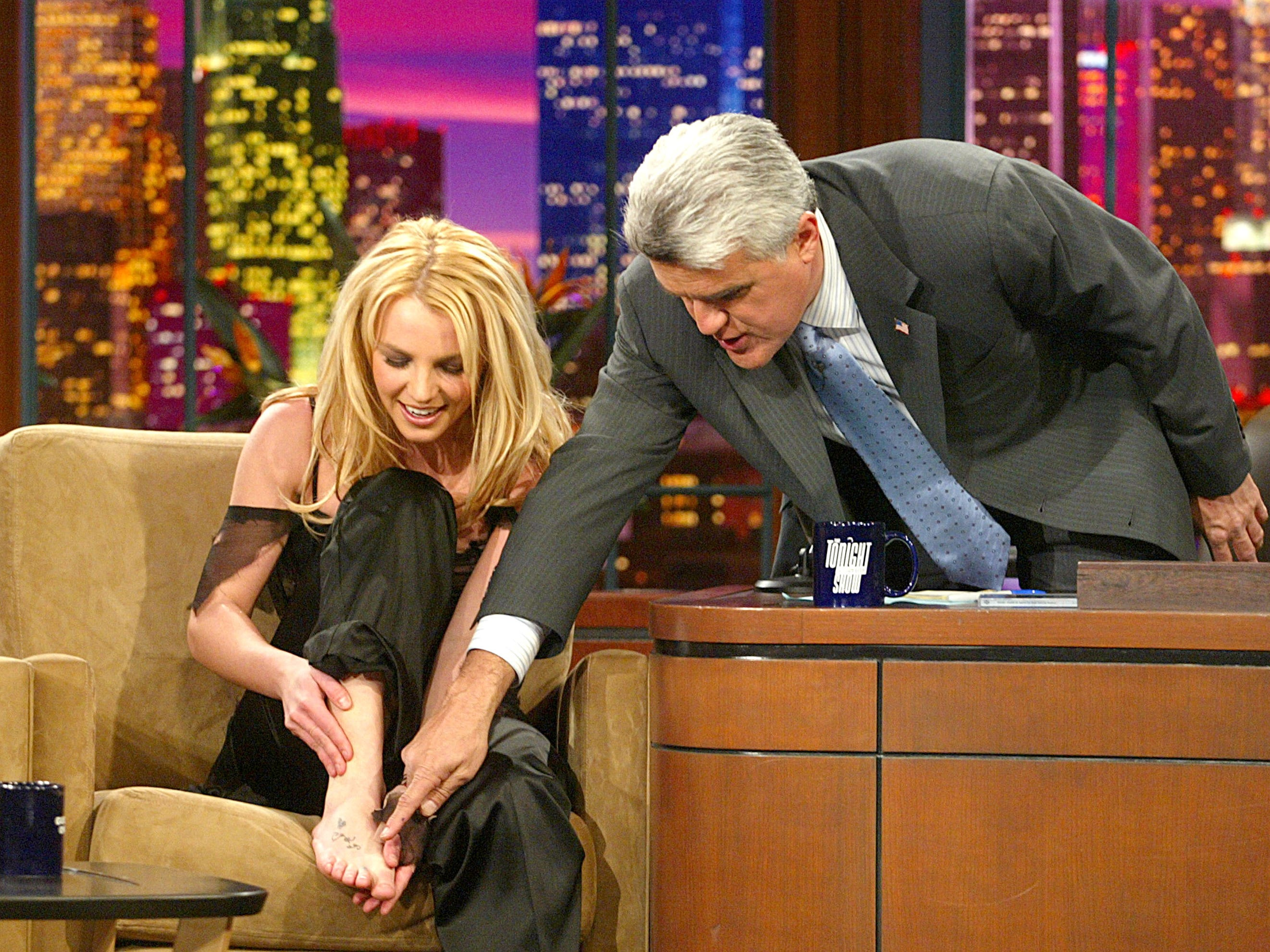 """BURBANK, CA - NOVEMBER 17:  Singer Britney Spears appears on """"The Tonight Show with Jay Leno"""" at the NBC Studios on November 17, 2003 in Burbank, California. (Photo by Kevin Winter/Getty Images) [Via MerlinFTP Drop]"""