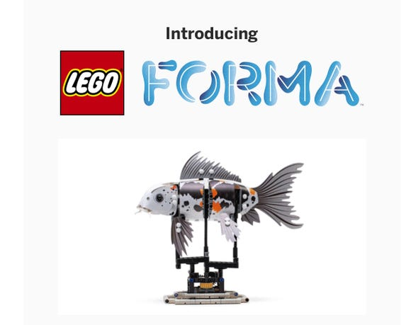 LEGO has a new twist: An adult-targeted product called LEGO Forma, which has just launched on Indiegogo. The first products let you build a fish.