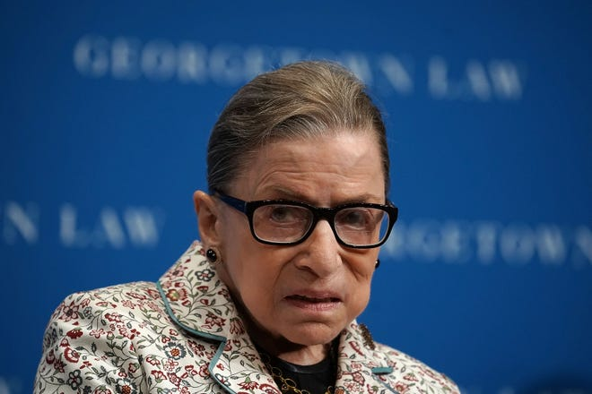 Supreme Court Justice Ruth Bader Ginsburg participates in a lecture on Sept. 26 at Georgetown University Law Center in Washington, DC, where she voiced support for the #MeToo movement.