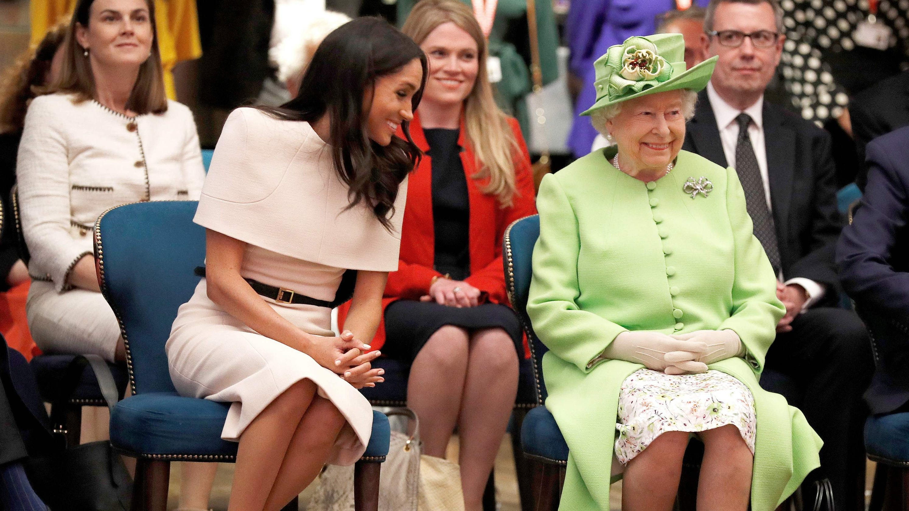 7890b3098 Meghan Markle delighted the queen with her 'Commonwealth' wedding veil, new  film shows