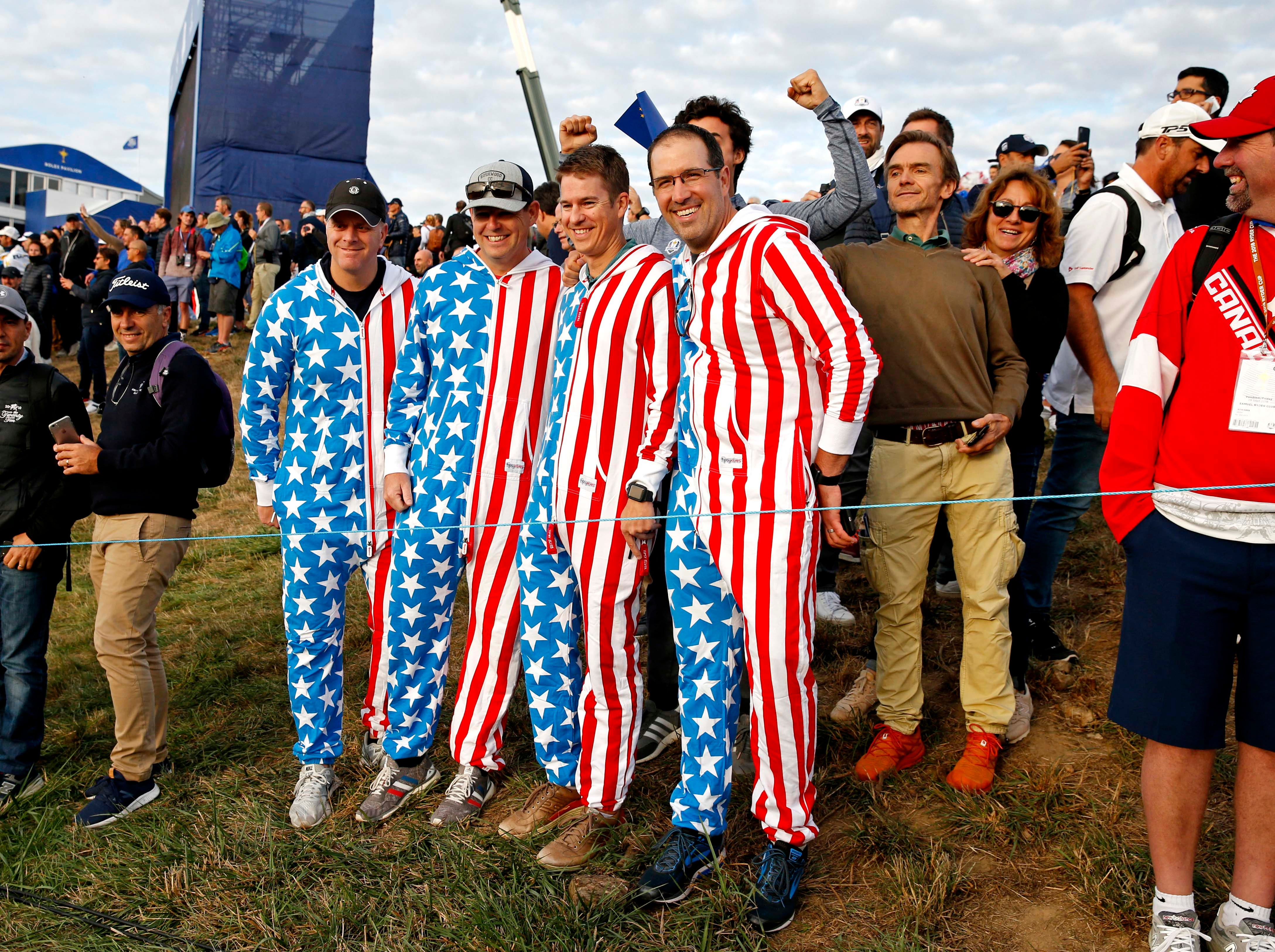 USA fans on the first hole during the Ryder Cup Friday morning matches.