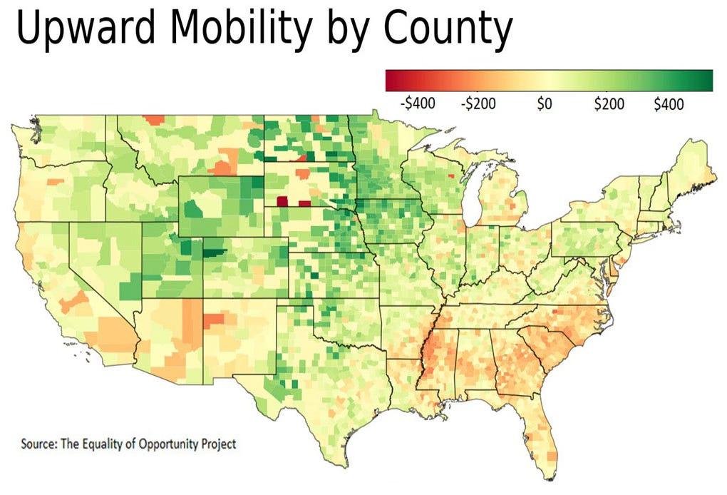 Upward mobility by county