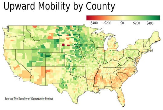 Upward mobility by county