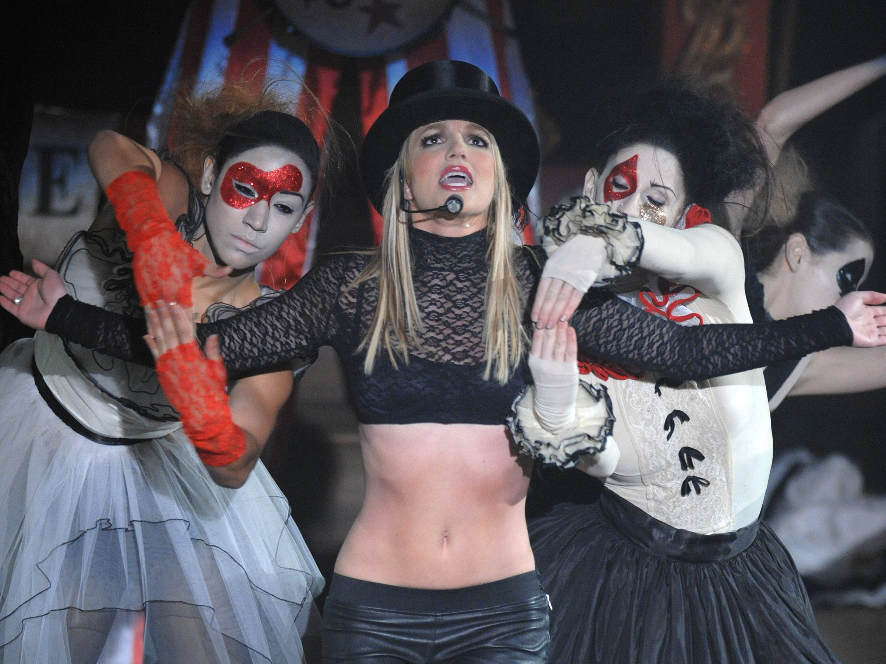 """Singer Britney Spears performs on ABC's """"Good Morning America"""" show at the Big Apple Circus in New York on Tuesday, Dec. 2, 2008. (AP Photo/Peter Kramer) ORG XMIT: NYPK101"""