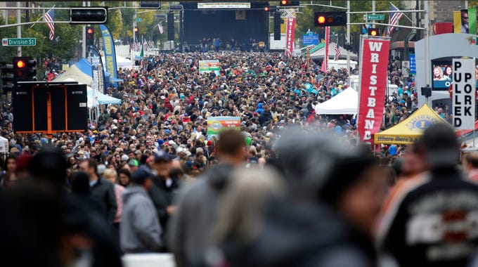The crowd swelled in the afternoon as Octoberfest 2018 takes place Saturday, September 29, 2018, in downtown Appleton, Wis.