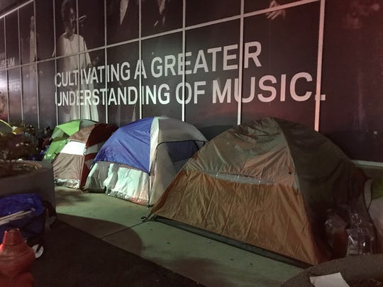BTS fans in sleeping tents outside the Prudential Center in Newark on Sept. 30.