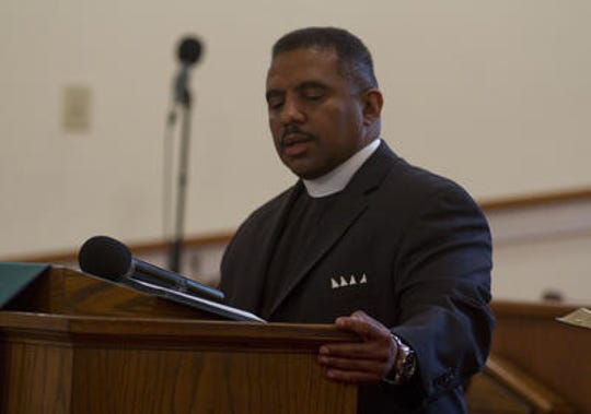 Pastor Ronald Sparks speaks on June 18, 2015. A service is held at the Bethel A.M.E. church in Freehold to remember those who lost their lives in Charlestown, South Carolina.