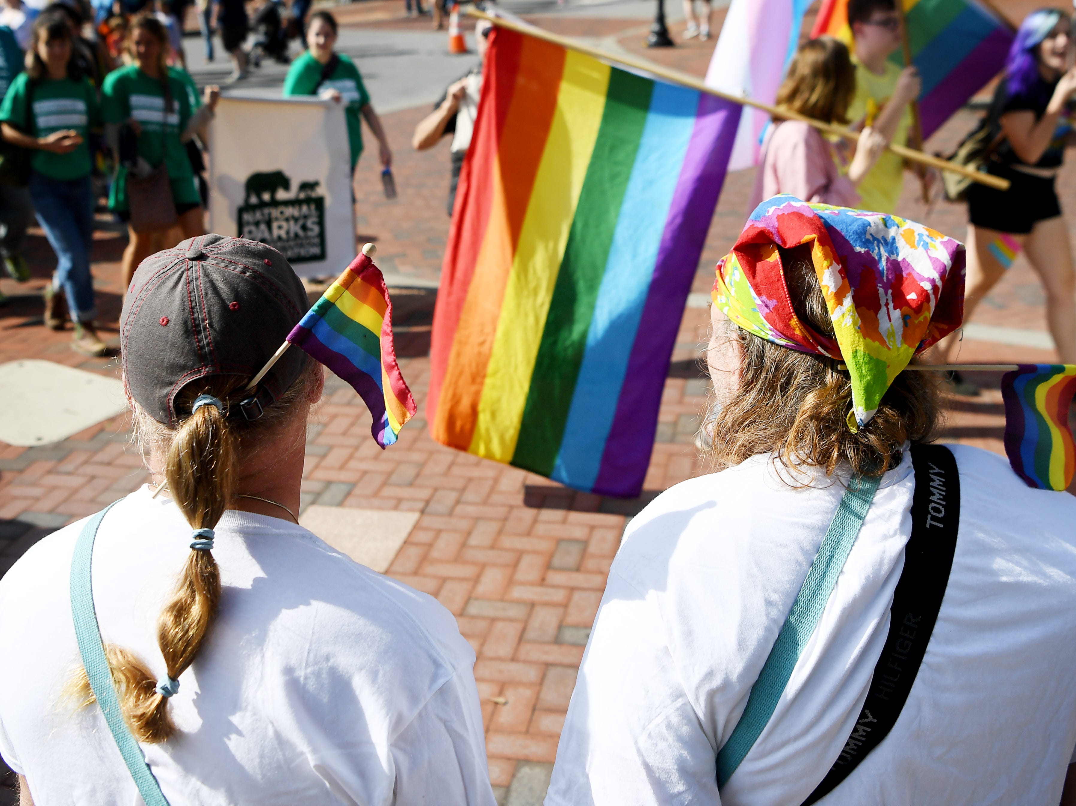 Husbands Lee, left, and William Hayes wear pride flags as they watch the Blue Ridge Pride procession in downtown Asheville Sept. 29, 2018.