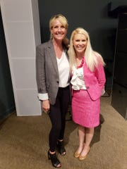 Erin Brockovich with Dr. Julie Clift Greenwalt, the oncologist, cancer survivor and Satellite High School grad who got Brockovich involved in the Brevard County cancer investigation.