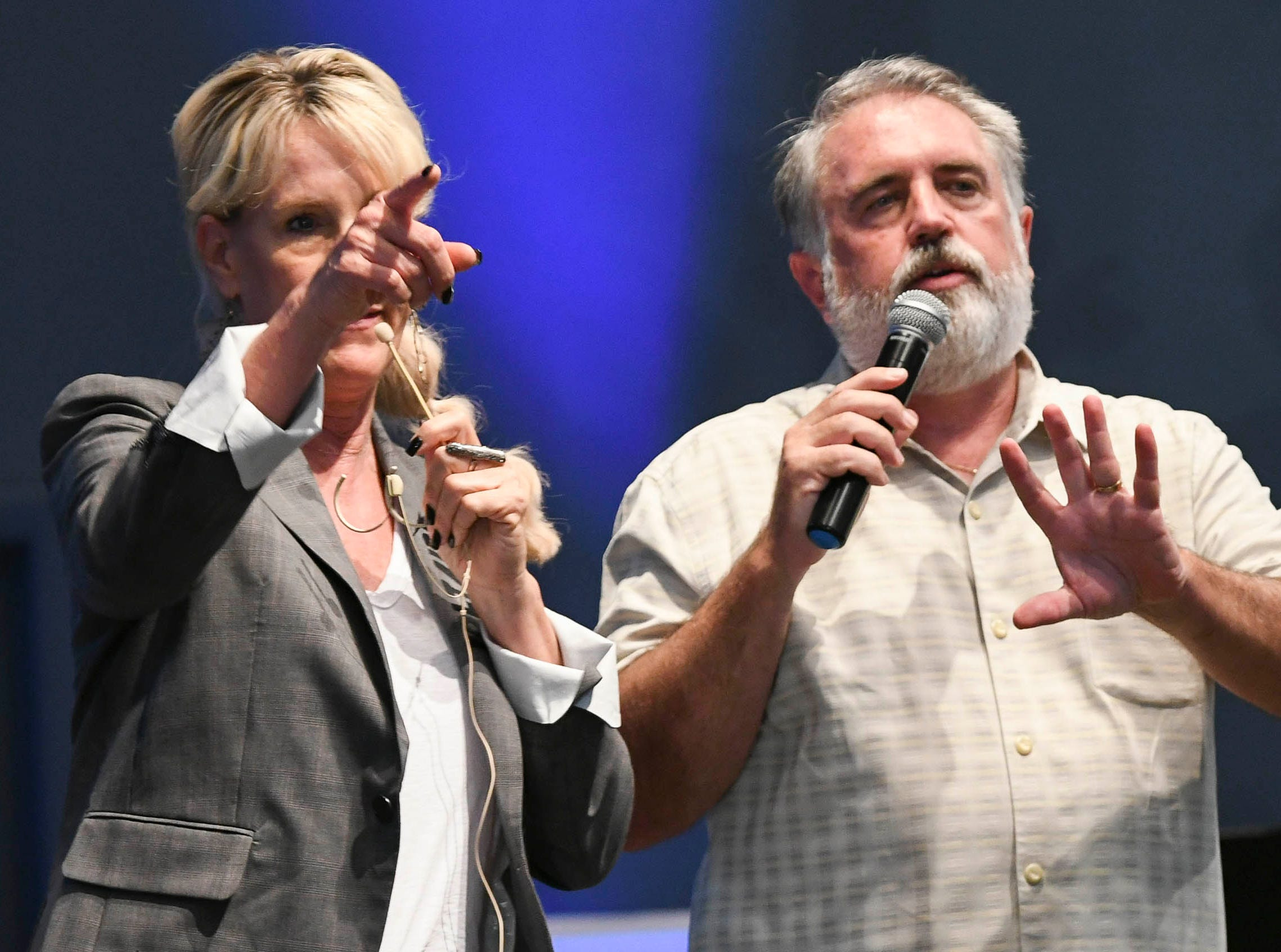 Environmental activist Erin Brockovich and her associate Bob Bowcock talk to Satellite Beach and other residents during a town hall at Kingdom Gate Worship Center.