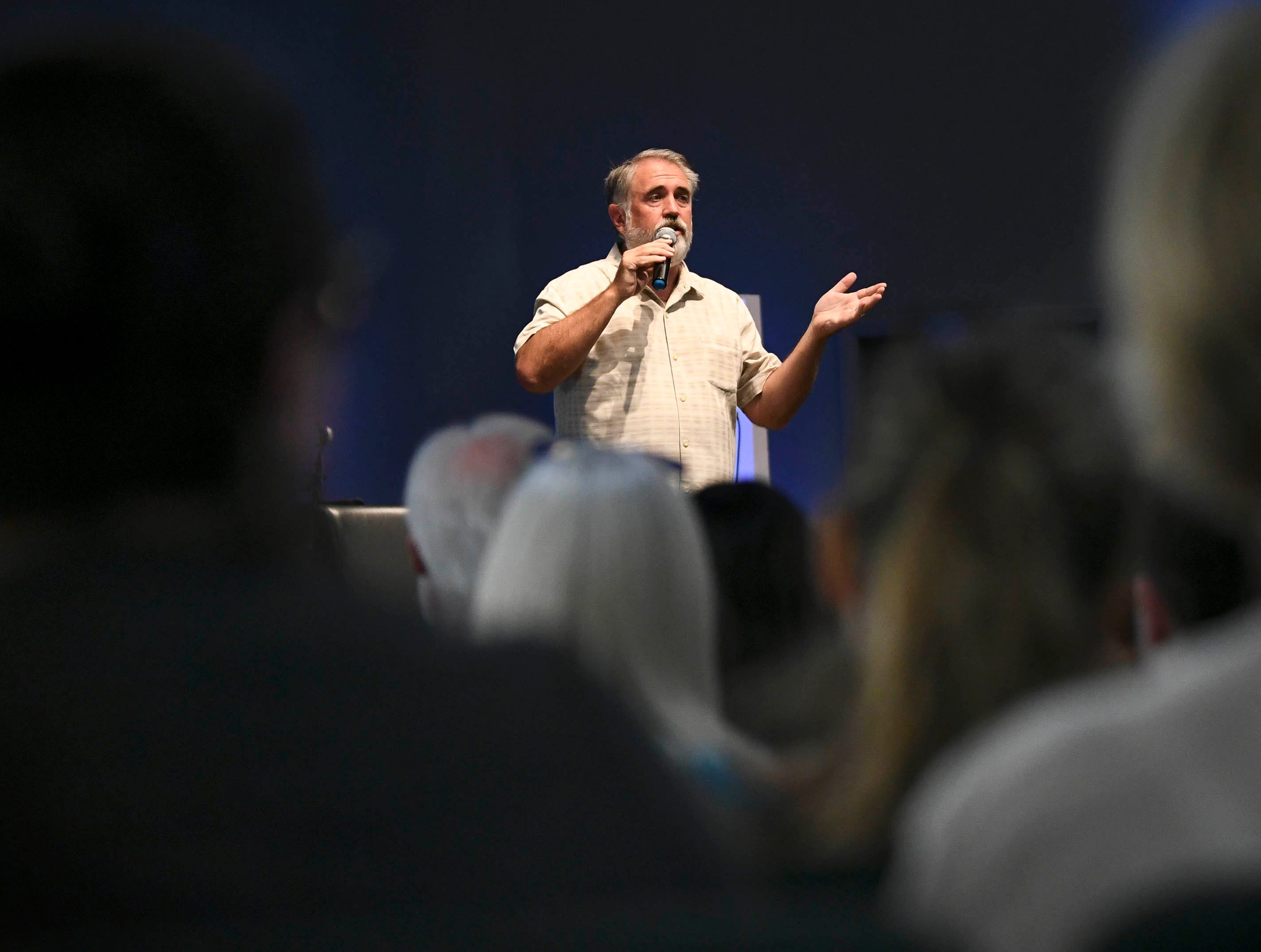 Bob Bowcock talks to Satellite Beach and other residents during a town hall at Kingdom Gate Worship Center.