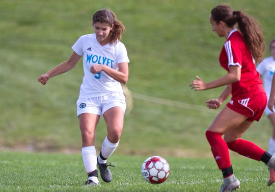 South Burlington's Bella Nevin, left, passes up the field during Saturday's girls soccer game in Hinesburg.