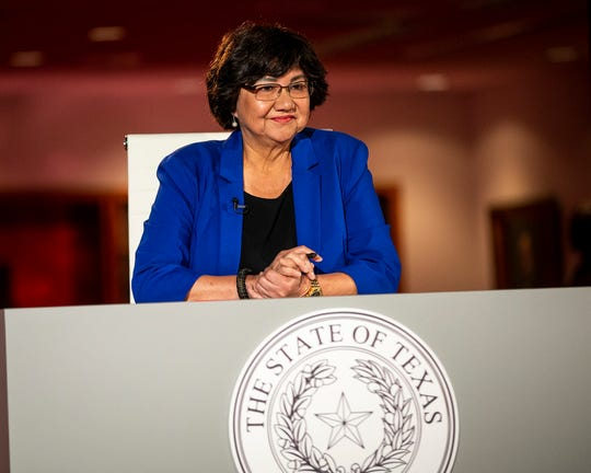 Democratic challenger Lupe Valdez waits for the start prior to a gubernatorial debate against Gov. Greg Abbott at the LBJ Library in Austin, Texas, on Friday, Sept. 28, 2018.  (Nick Wagner/Austin American-Statesman via AP, Pool)