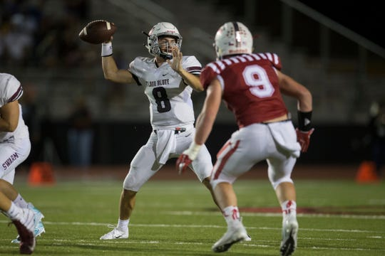 Flour Bluff's Braden Sherron throws the ball against Ray during their game on Friday, Sep. 28, 2018 at Cabaniss Stadium.