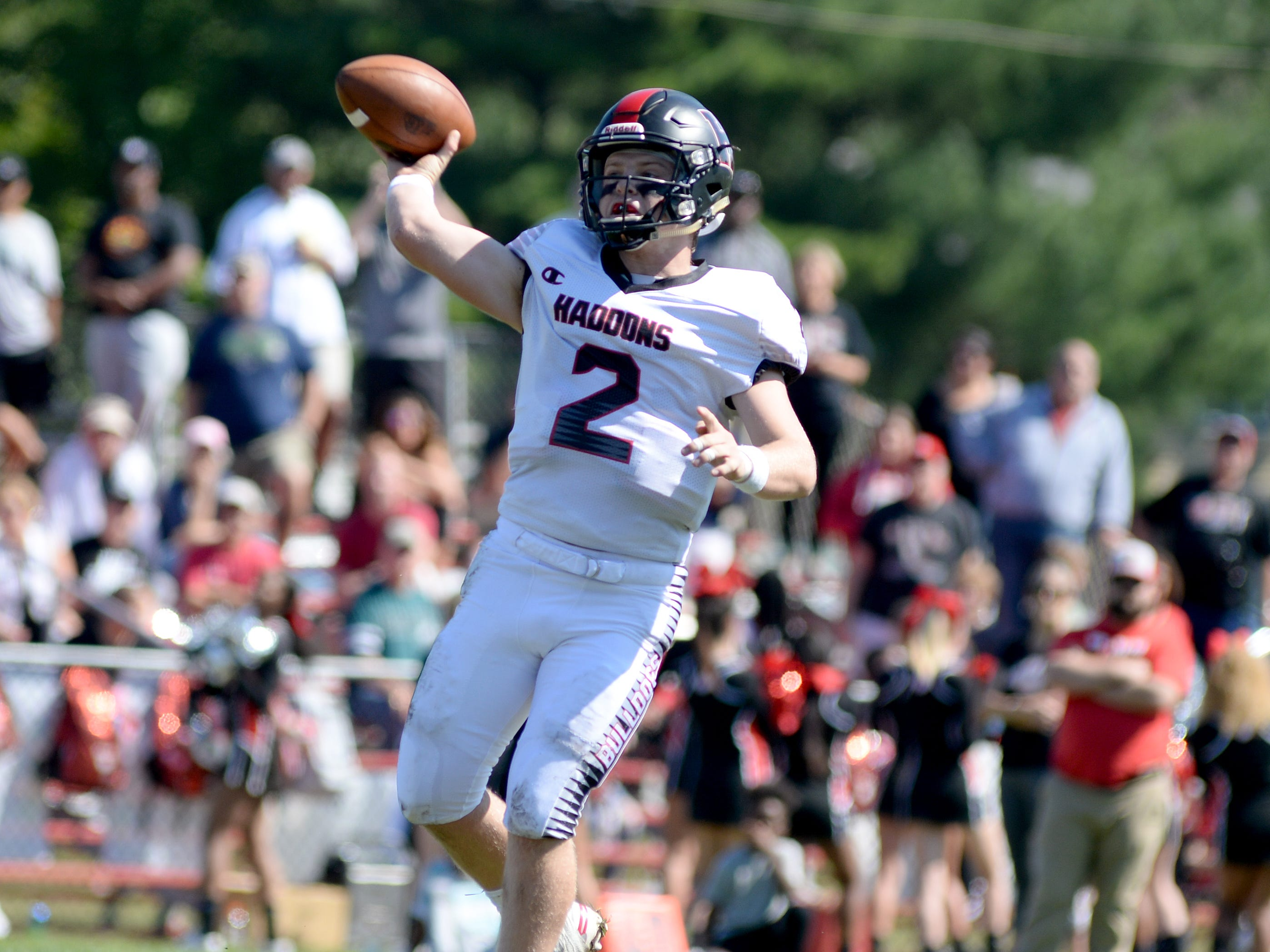 Haddonfield quarter back Jay Foley throws a pass during Saturday's game against St. Joseph, Sept. 29, 2018.
