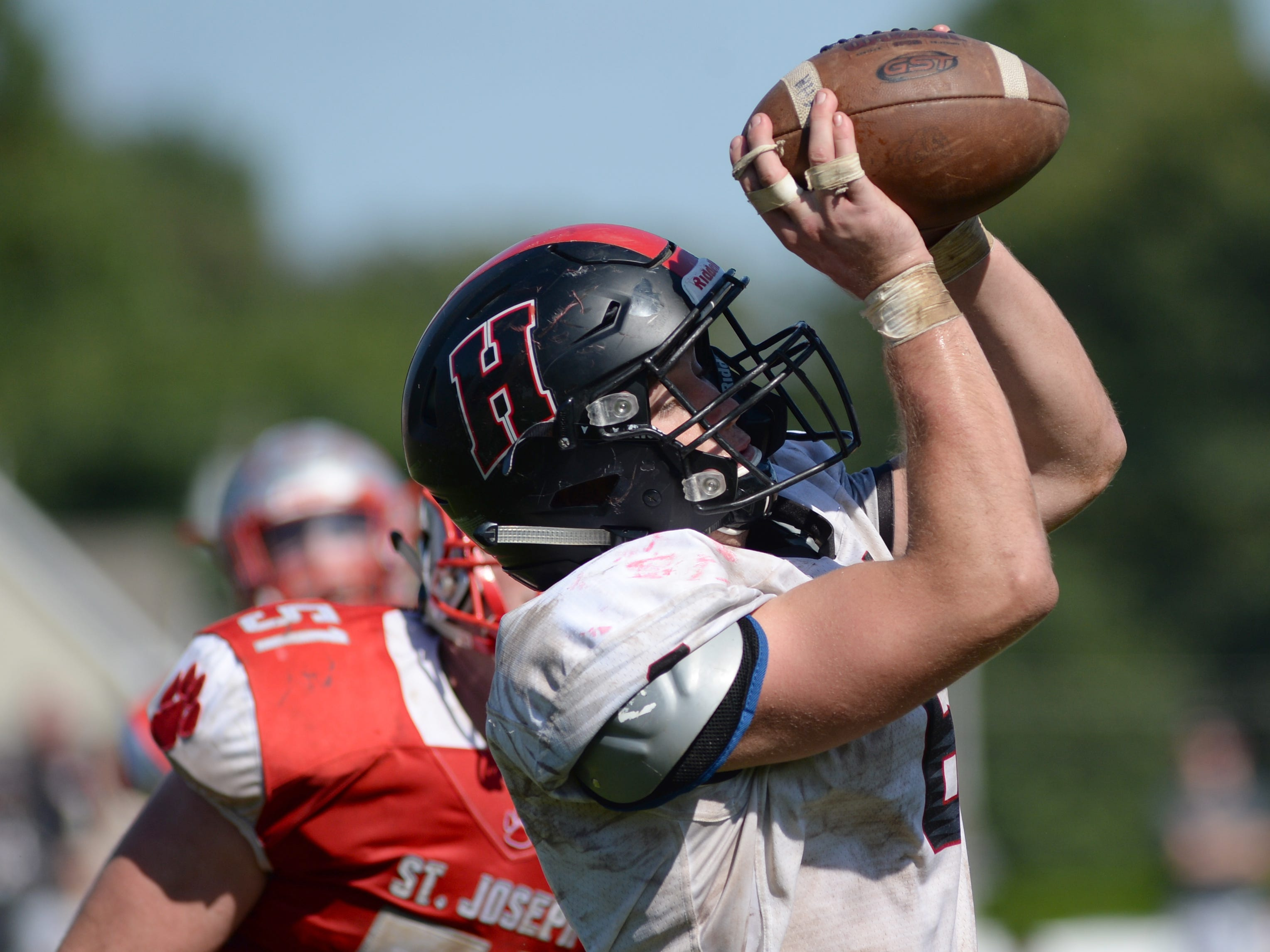 Haddonfield's Gabe Klaus catches a pass for a 2-point conversion during Saturday's game against St. Joseph, Sept. 29, 2018.