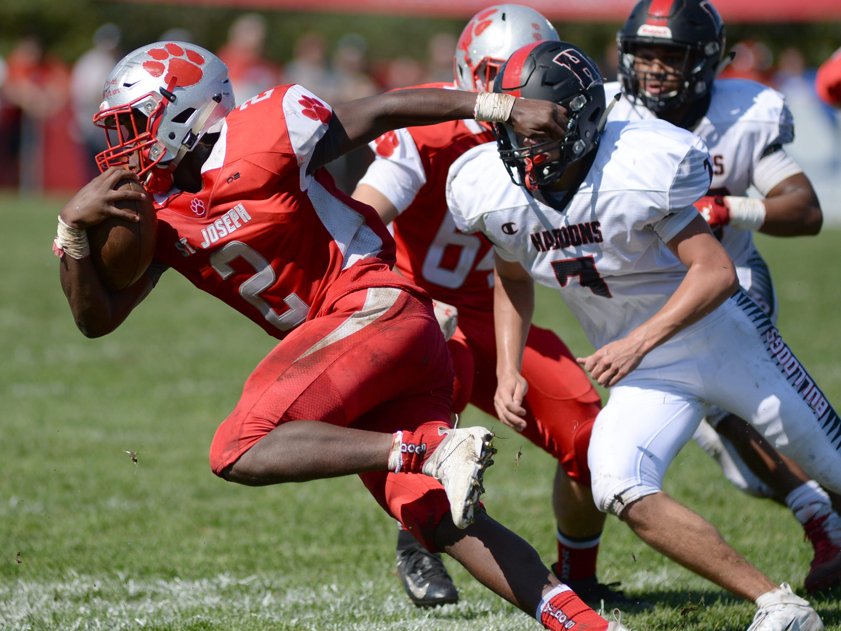 St. Joseph's Ahmad Ross carries the ball during Saturday's game against Haddonfield, Sept. 29, 2018.
