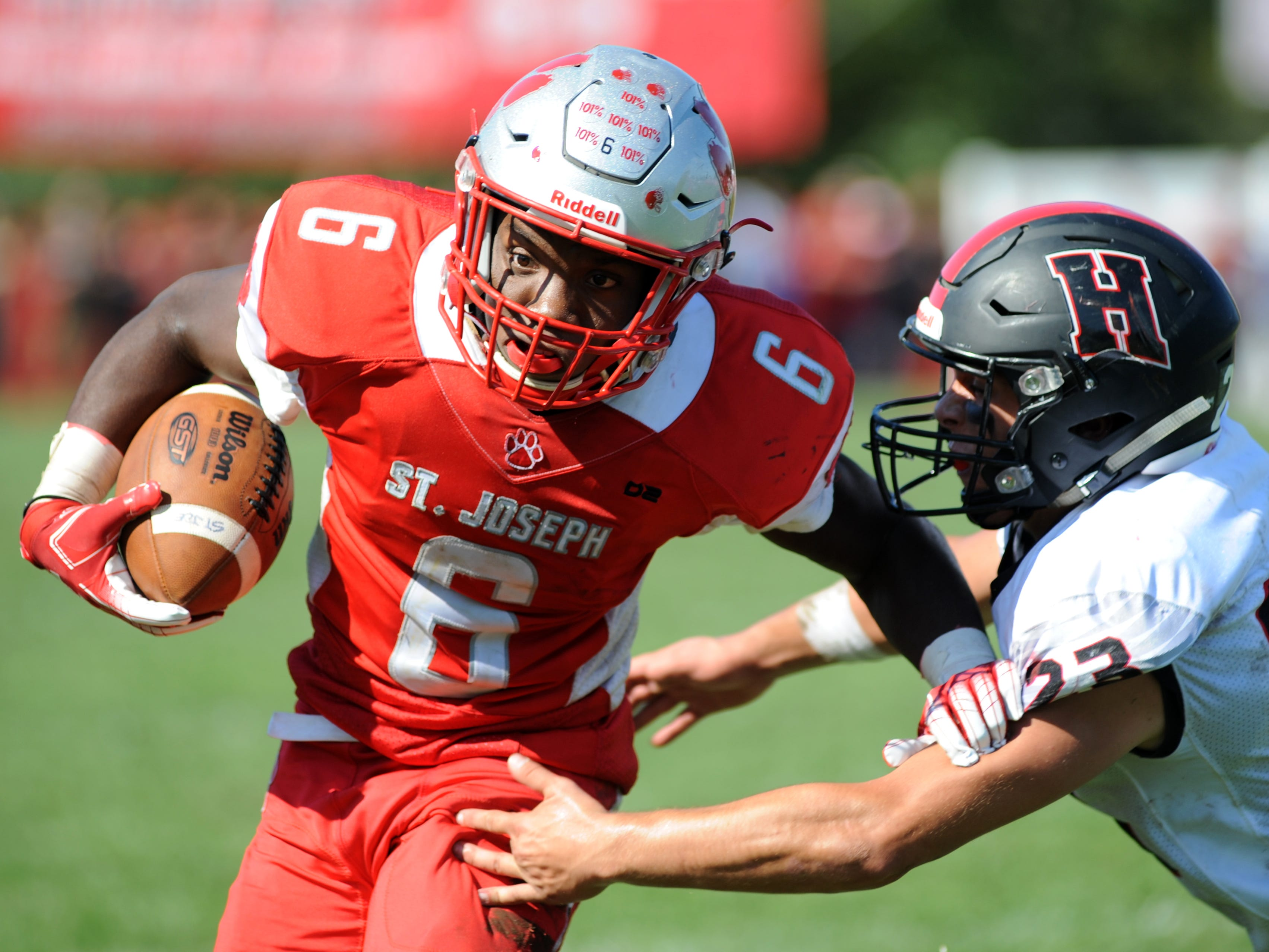 St. Joseph's Nate Johnson carries the ball during Saturday's game against Haddonfield, Sept. 29, 2018.
