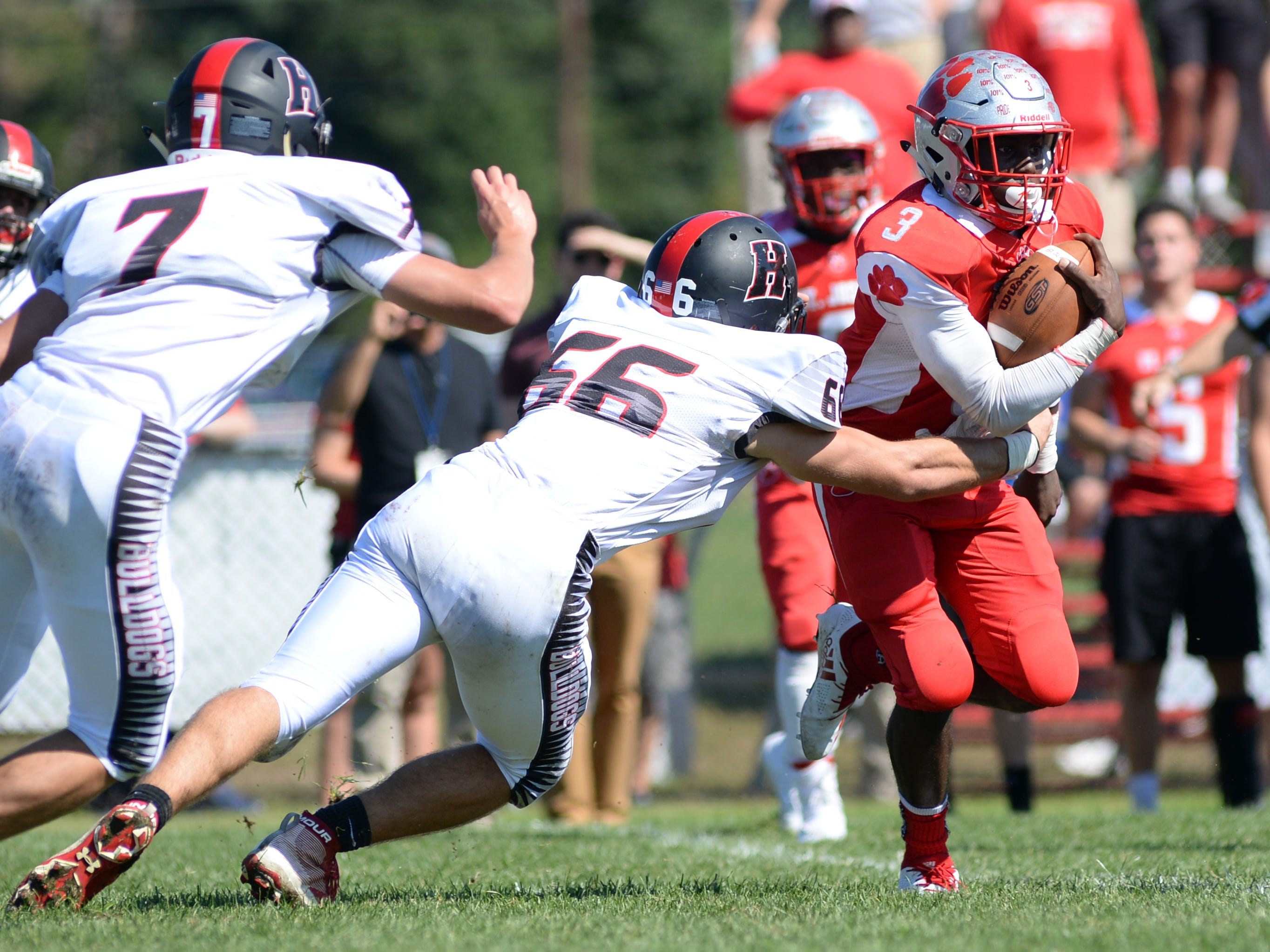 St. Joseph's Jada Byers is tackled is the backfield during Saturday's game against Haddonfield, Sept. 29, 2018.