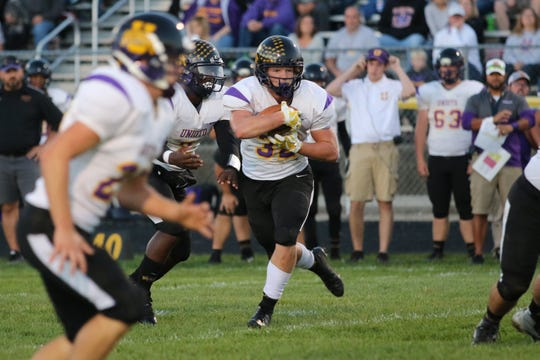 Unioto's Chance Smith runs the ball in a game against Paint Valley during the 2018 season at Paint Valley High School.