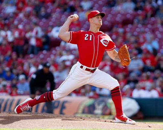 Sep 29, 2018; Cincinnati, OH, USA; Cincinnati Reds starting pitcher Michael Lorenzen (21) throws against the Pittsburgh Pirates during the first inning at Great American Ball Park. Mandatory Credit: David Kohl-USA TODAY Sports