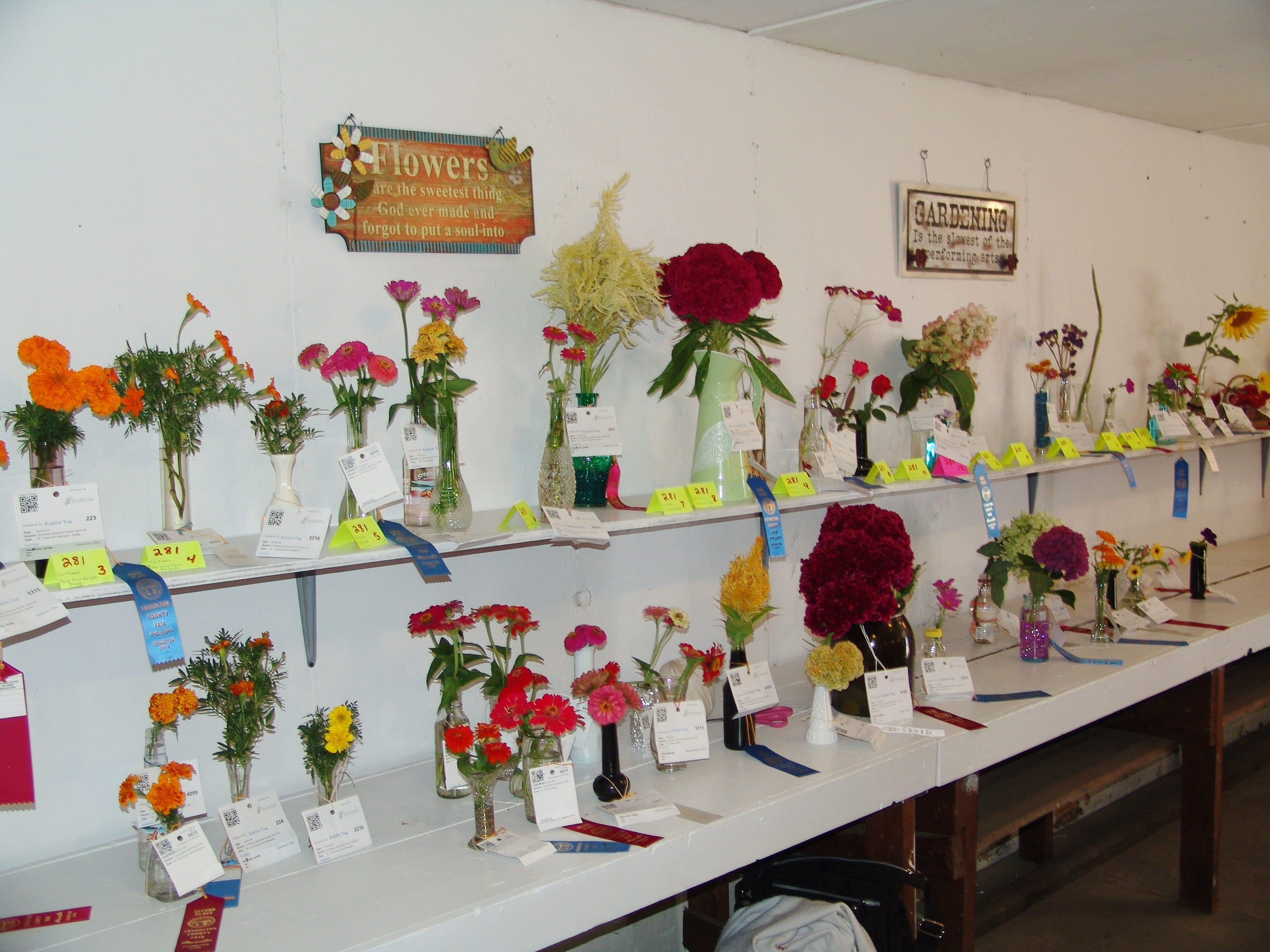 Cut flowers on display in the Art Hall.