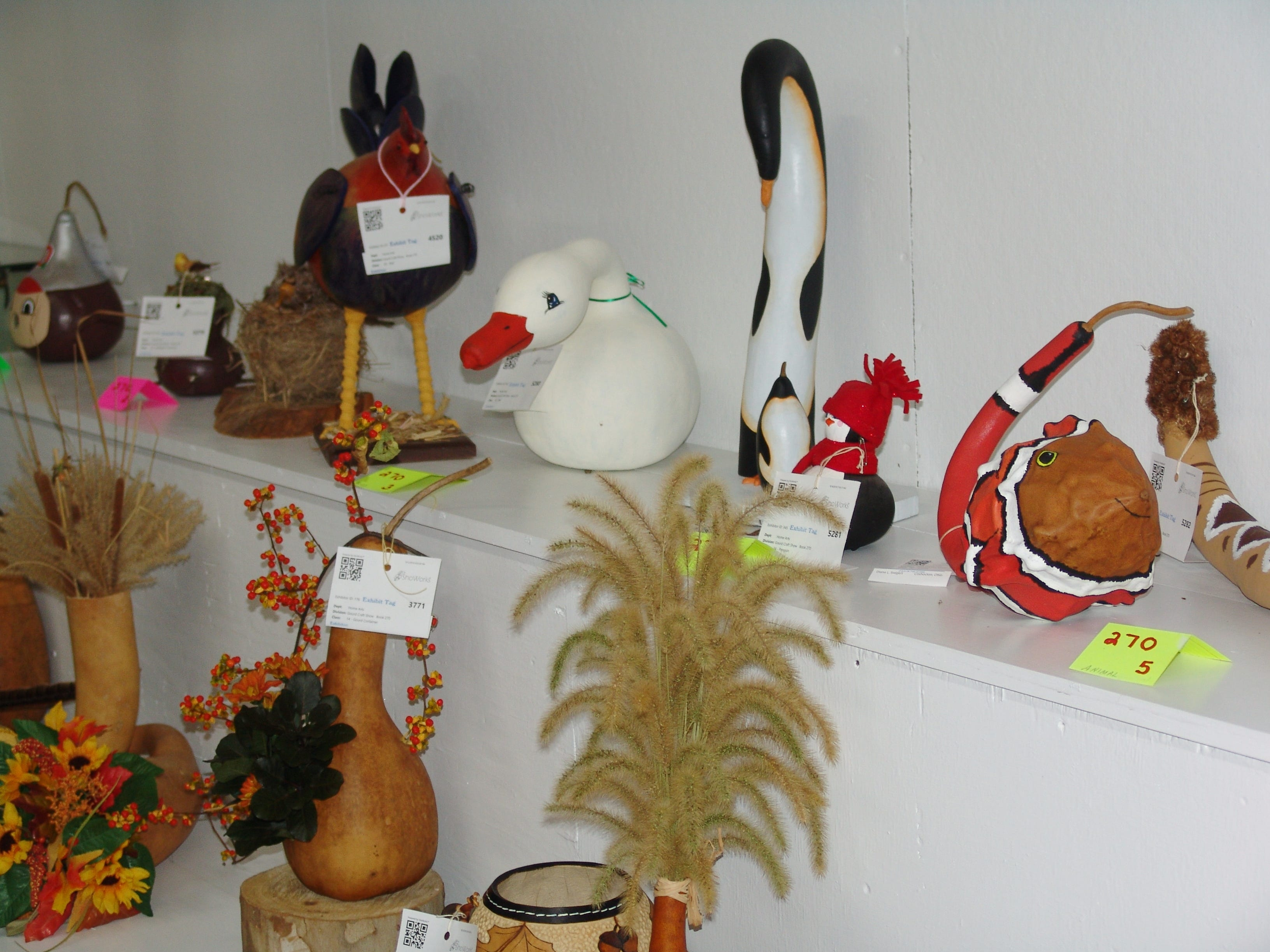Gourds of the Gourd Craft Show on display in the Art Hall.