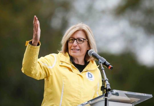 Iowa state senator and Democratic Lt. Gov. candidate Rita Hart speaks during the 2018 Polk County Steak Fry on Saturday, Sept. 29, 2018.