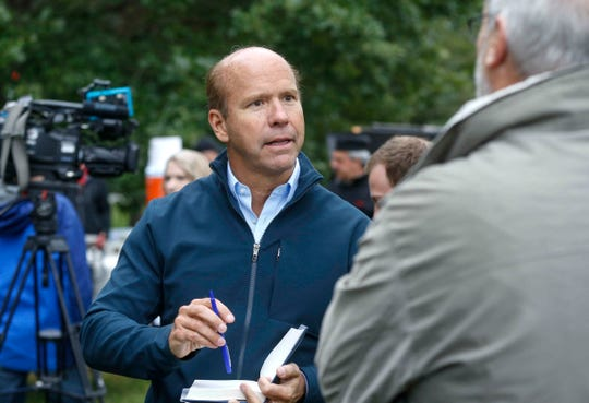 Democratic presidential hopeful John Delaney meets with supporters during the 2018 Polk County Steak Fry on Saturday, Sept. 29, 2018.