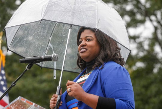Democratic Secretary of State candidate Deidre DeJear speaks during the 2018 Polk County Steak Fry on Saturday, Sept. 29, 2018.