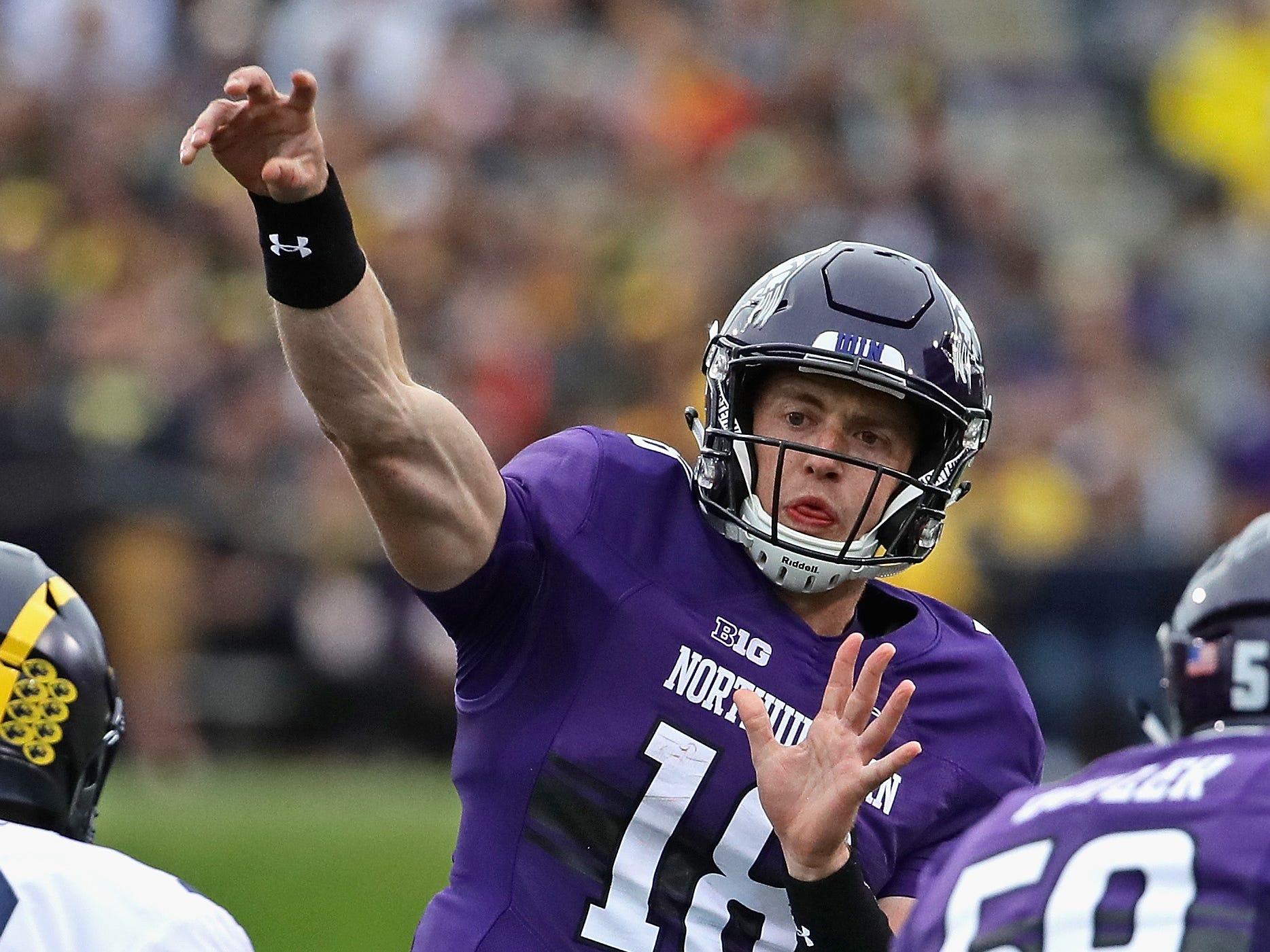 Northwestern's Clayton Thorson passes against Michigan at Ryan Field on Sept. 29, 2018 in Evanston, Ill.