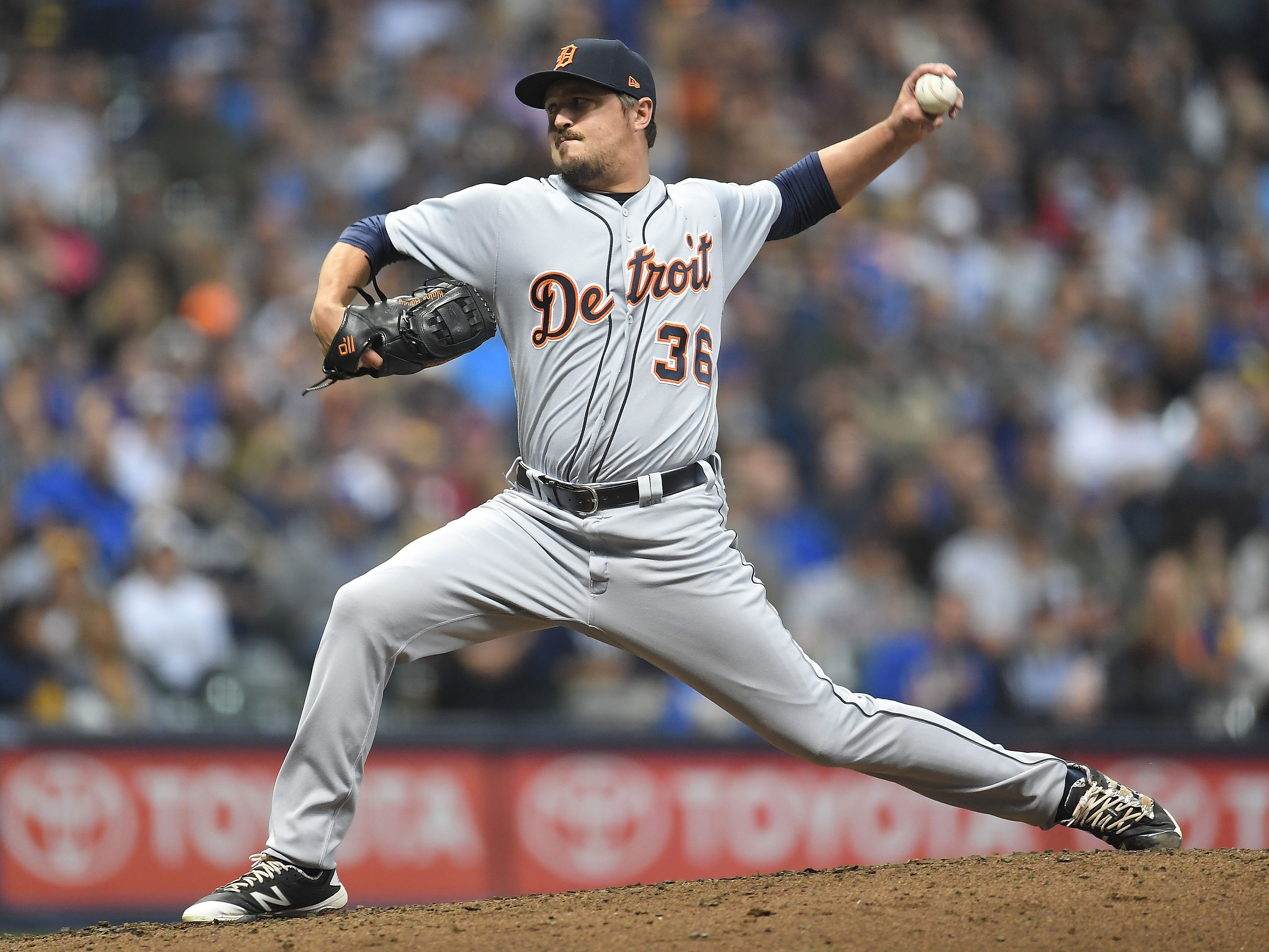 Blaine Hardy of the Detroit Tigers throws a pitch during the fifth inning against the Milwaukee Brewers at Miller Park on Sept. 28, 2018 in Milwaukee.
