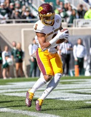 Central Michigan defensive back Sean Bunting makes a interception in the end zone against Michigan State during the first quarter on Saturday, Sept. 29, 2018, at Spartan Stadium.