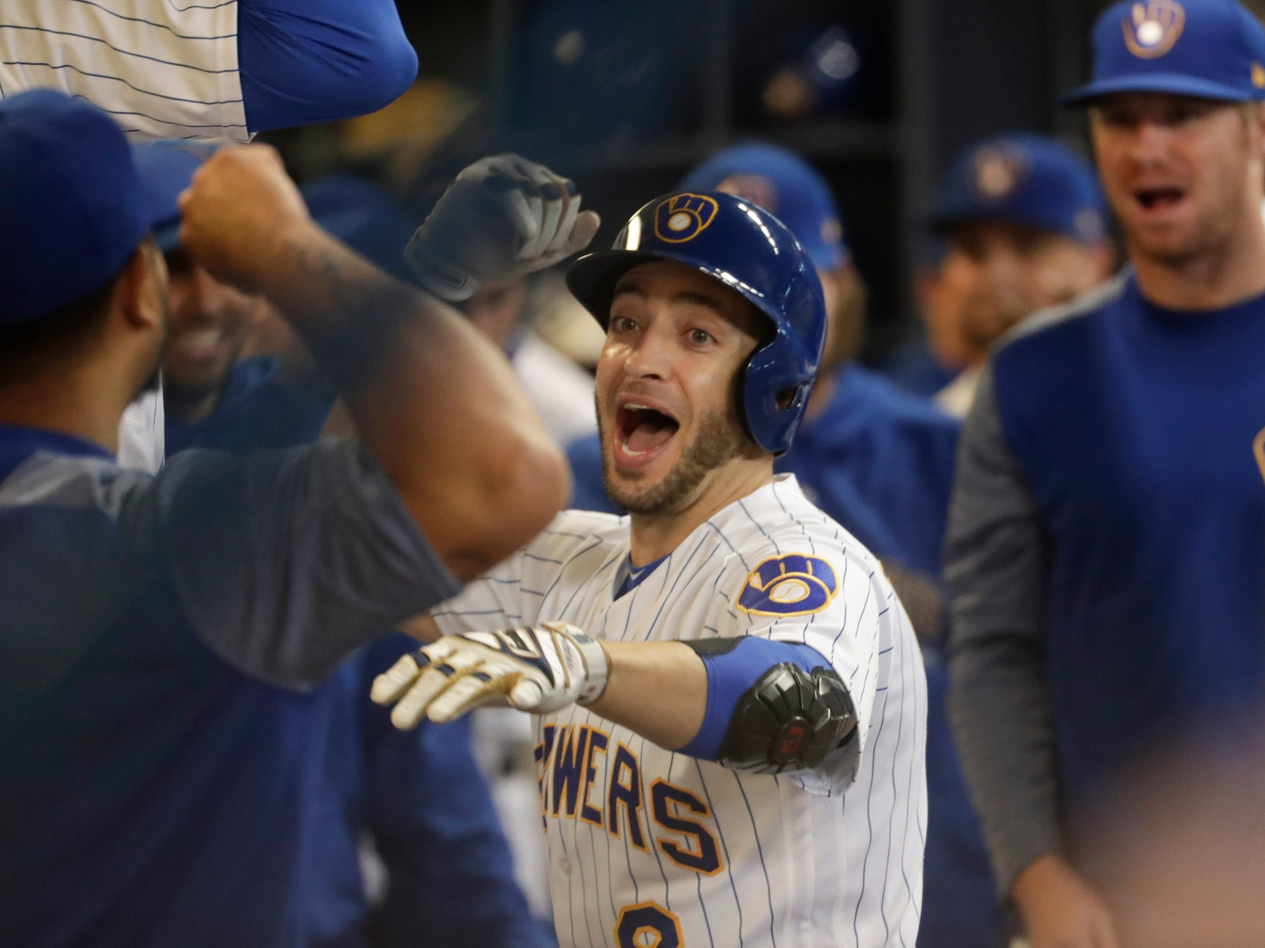 Milwaukee Brewers' Ryan Braun celebrates his home run during the eighth inning against the Detroit Tigers Friday, Sept. 28, 2018, in Milwaukee.